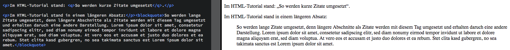 HTML-Tutorial - Zitate