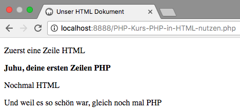 PHP in HTML - Abbildung 2